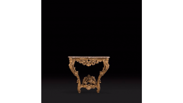 Small console in gilded wood façade and sides curved