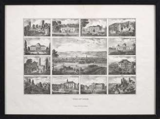 "Reminder sheet with views of ""Göttingen and the surrounding area""."