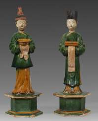 Pair of figures with Sancai glaze from the Ming period
