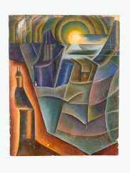 Czech school around 1920/30 cubist composition. Traces of signature oil on paper laid on board,