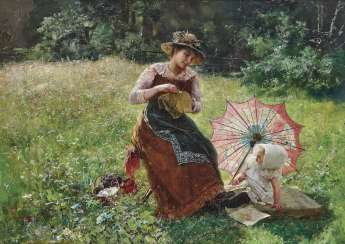 Mother with daughter on a summer Meadow. Wagner, Paul Hermann