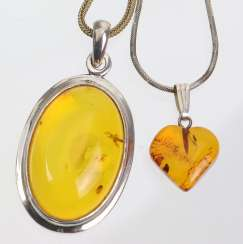 2 amber pendant on chain