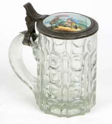 Beer Stein with porcelain lid around 1900