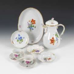 9 porcelain with flower painting, MEISSEN