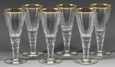 Set of six small cup glasses