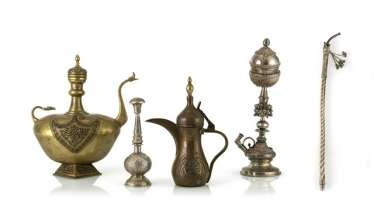 Decorative and utility vessels, including water jugs made of brass, rose water sprinklers made of silver