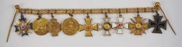 Lippe-Detmold : miniature chain of a front officer of the Franco-Prussian war, with 9 awards.