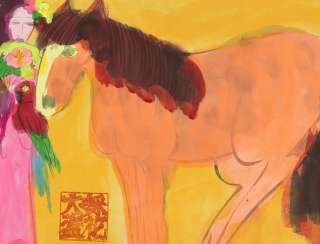 Woman with Parrot & Horse I