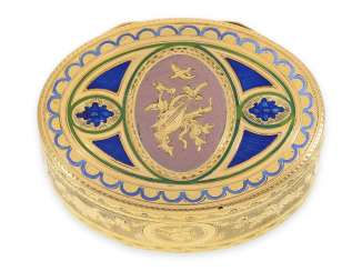 Snuff box: a Museum, an exquisite Gold and enamel snuff box, 20K Gold, hallmark