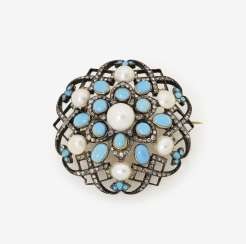Brooch with Turquoise, half-pearls and diamonds