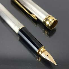 AURORA: cartridge filler / filler / Fountain Pen: Sterling silver, metal fittings gold plated. Spring 585 / 14 K. Mint.