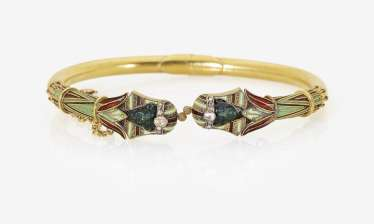 Demi Parure, bangle and brooch with Pharaoh masks. Vienna, around 1890, CARL BACHER