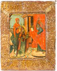 A SMALL ICON WITH THE PRESENTATION OF CHRIST IN THE TEMPLE WITH BASMA