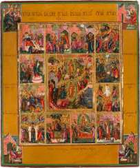 A FINE ICON WITH THE EASTER EVENTS ENTOURED BY THE Twelve HIGH FESTIVITIES OF THE ORTHODOX YEAR AND THE FOUR EVANGELISTS Russia