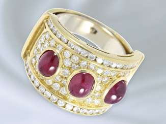Ring: particularly wide and tasteful ruby/brilliant gold wrought ring, approx. 4,76 ct, hand work