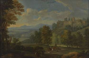 OOSTEN, Izaak van, attributed to landscape with courtly hunting group