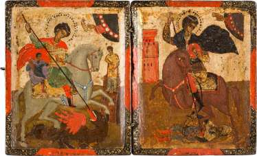 SMALL DIPTYCH WITH THE RIDING SAINTS GEORGE AND DEMETRIUS Greece