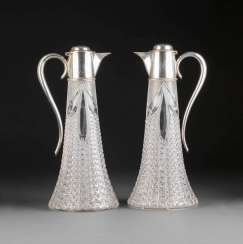 PAIR OF LARGE DECANTERS WITH SILVER MOUNTS