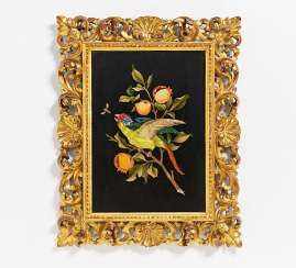 Large Pietra Dura panel with a parrot on pomegranate branch