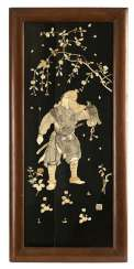 Large lacquer panel with Samurai image from inlaid bone and ivory