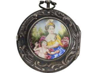 Pocket watch: rare, large Oignon with repoussé technology-housing and enamel-painting, John Wilter London for the Dutch market, around 1750