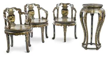 Three chairs and a Vase with gold paint decoration