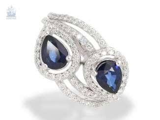 Ring: interesting, high-quality sapphire/brilliant-Designer ladies ring, crafted from 18K white gold set with 2.45 ct