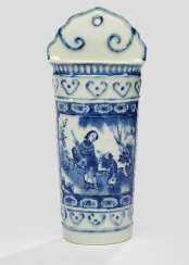 Under glaze blue decorated container for chopsticks made of porcelain
