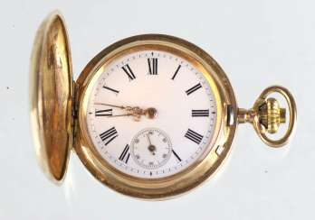 Spring cover pocket watch yellow gold 585