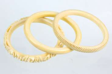 3 antique ivory bangles