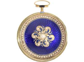 Pocket watch: exquisite enamel Spindeluhr with very rare pearl decoration, Clary à Genève, No. 209, CA. 1780