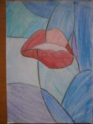 Picture. Interior. Abstraction. Luscious lips.