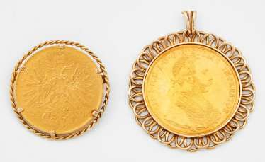Two crowns of gold coin pendant with Emperor Franz Joseph 1915