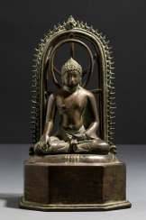 Bronze of Buddha Shakyamuni stood in front of Mandorla