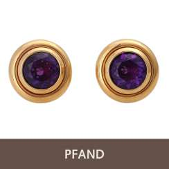 PLAFF AUCTION - 1 pair of ear clips, 18K, amethyst.