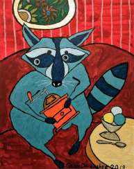 Blue raccoon with an orange grinder.