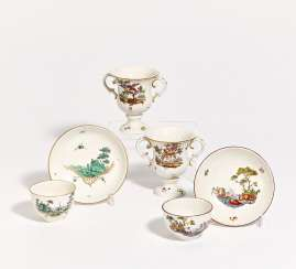 Two miniature vases, 2 cups & saucer with different decors