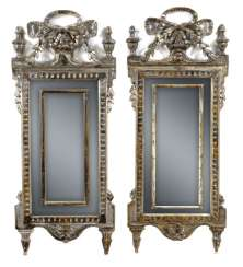 Pair of highly decorative arrow mirror. Louis XVI-style, probably Italy, 19th century. Century