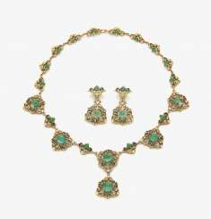 Necklace and a Pair of clip-on earrings pendants with emeralds . Munich, jeweler THEODOR HEIDEN, 1960s