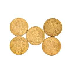 Sovereigns Australia/South Africa GOLD - 5 x 1 Sovereign,