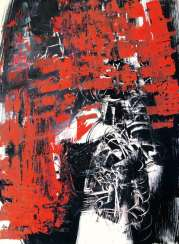 Abstract composition in red and black