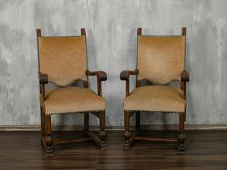 Pair of antique carved armchairs