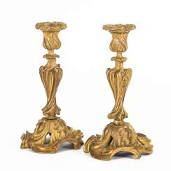 Pair of massive Rococo style candlesticks