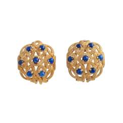 Clip-on earrings, each with 7 kl. Lapis lazuli Cabochons, round,
