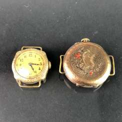 Two Ladies Wrist Watches, Art Nouveau. A watch claw / bracelet for the watch. Gold Doublée, very nice.