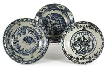 Three underglaze blue Swatow bowls made of porcelain