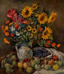 OTTO SCHUBERT 1892 Dresden - 1970 ibid STILL LIFE WITH FIELD FLOWERS AND FRUIT Oil on canvas