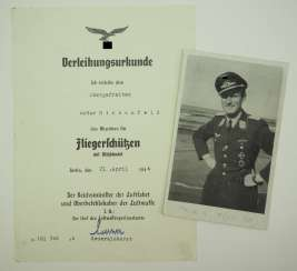 Certificate for a corporal and air gunner of the Stuka Squadron 1.
