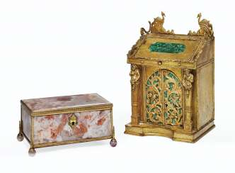 TWO GILT-METAL AND HARDSTONE TABLE BOXES