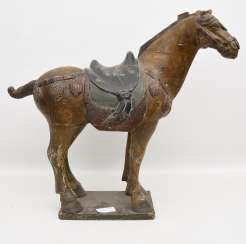 TANG HORSE, painted wood, China, 19th century. Century